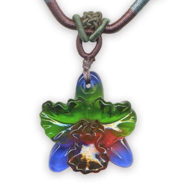 鹿港窯~居家開運水晶琉璃項鍊~嘉德利亞蘭花 附精美包裝◆免運費送到家◆