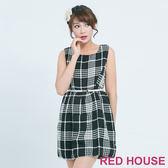 RED HOUSE-蕾赫斯-經典格紋毛呢洋裝(黑色) 滿599元才出貨