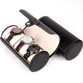 手錶收納盒 檀韻致遠PU皮革3位圓筒手表盒高檔珠寶首飾手表收納展示包裝盒子
