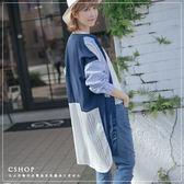 棉麻衫  氣質簍空蕾絲條紋拼接長版襯衫  單色-小C館日系