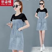 牛仔洋裝 2021新款韓版夏天流行裙子牛仔洋裝女假兩件短袖a字裙桔梗法式