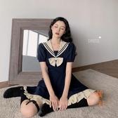洛麗塔海軍風收腰連身裙短款水手服復古裙【橘社小鎮】