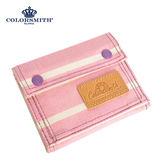 【COLORSMITH】PU・釦式對折短夾-粉紅橫條紋・WLPU2032-PN