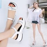 鬆糕鞋 2020新款時尚涼鞋女夏平底百搭鬆糕學生中跟仙女風ins潮厚底坡跟【快速出貨八折】