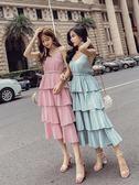 細肩帶洋裝 性感連身裙 女裝夏季時尚百搭氣質鬆緊高腰修身顯瘦層層蛋糕裙吊帶裙-小精靈