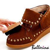 Ballerina-質感原木圓弧麂皮鞋刷(1只入)