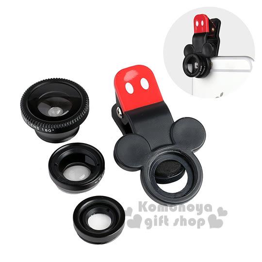 〔小禮堂〕Hemee x 迪士尼 米奇 手機廣角鏡頭夾《黑.大臉》魚眼特寫廣角三種規格 4522327-85450