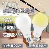【APEX】13W高效能廣角LED燈泡 全電壓 E27(50入)黃光