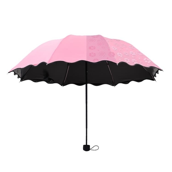 現貨 遇水開花摺疊傘折疊傘 抗UV手動傘晴雨傘太陽傘三折雨傘 變色傘【步行者户外生活馆】