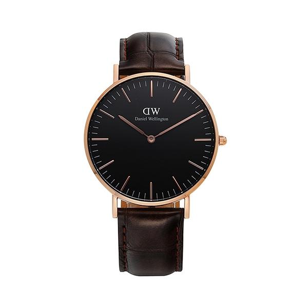 【Daniel Wellington】CLASSIC瑞典時尚品牌經典簡約真皮腕錶-棕咖棕x玫金-36mm/DW00100140/原廠兩年保固