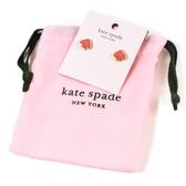 美國正品 KATE SPADE 琺瑯桃心針式耳環-珊瑚粉【現貨】