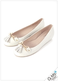 G.Ms. 金釦流蘇綿羊皮內增高娃娃鞋-白色