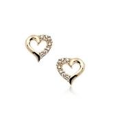 耳環 925純銀鑲鑽-精美心型生日情人節禮物女耳針2色73gt73【時尚巴黎】