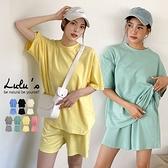 LULUS【A01210243】Y兩件式套裝-寬鬆圓領上衣+鬆緊短褲7色
