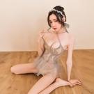 性感交叉肩帶透明網紗連衣短裙頭飾套裝制服誘惑1203_YD