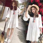 孕婦洋裝 孕婦夏裝洋裝時尚韓版新款上衣中長款寬鬆雪紡孕婦裙子潮媽  提拉米蘇