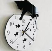 diy創意貓咪亞克力鐘表臥室掛鐘靜音時鐘簡約藝術壁鐘客廳墻鐘萬聖節,7折起