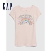 Gap女童創意愛心圓領短袖T恤577830-煙玫紅