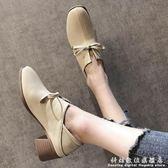 方頭鞋女士高跟鞋英倫風軟妹小皮鞋春季蝴蝶結淺口粗跟單鞋 科炫數位