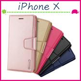 Apple iPhoneX 5.8吋 韓曼素色皮套 磁吸手機套 可插卡保護殼 側翻手機殼 掛繩保護套 支架 錢包款