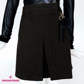 【SHOWCASE】輕暖冬款麂皮箱褶簡約膝上A字短裙(黑)
