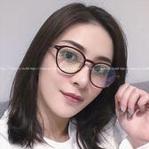 現貨-韓版vintage時尚百搭平光鏡透明眼鏡小清新米釘眼鏡框復古圓形眼鏡架可配近視鏡眼鏡 透明
