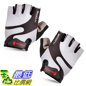 [106美國直購] 手套 BOODUN Cycling Gloves with Shock-absorbing Foam Pad Breathable Half Finger Grey