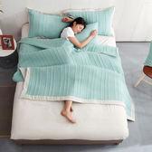 簡約水洗薄被/床蓋兩用組(含枕套)-水湖綠