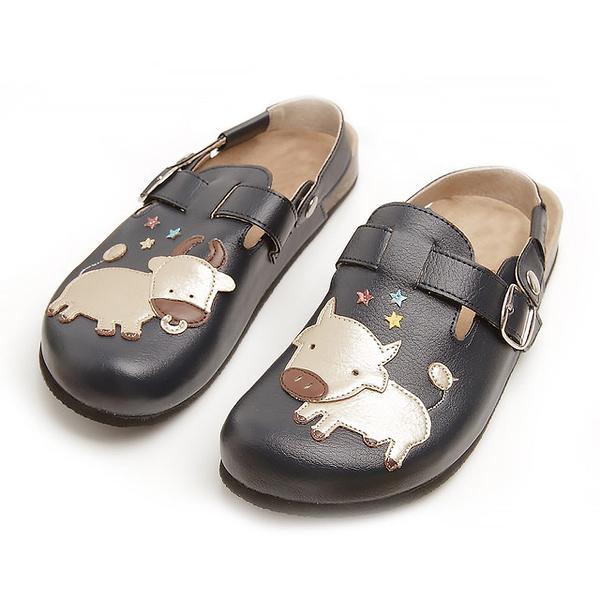 【Jingle】可愛牛牛前包後空軟木休閒鞋(經典藍大人款)