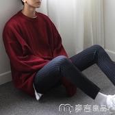 男士毛衣純色針織衫男寬鬆蝙蝠袖毛衫線衣學生潮圓領套頭男士毛衣韓版 麥吉良品