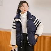冬拼色面包棉服女學生加厚棉衣條紋短外套寬鬆棉襖 【新春特惠】