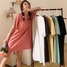 居家服.日系慵懶舒適純棉素色圓領洋裝.白鳥麗子