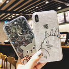 【SZ32】iphoneX手機殼 卡通龍貓 立體菱形 全包 軟殼 透明 iPhone7/8 plus手機殼 iPhone6s手機殼