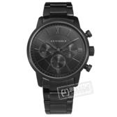 ARIES GOLD / G1027BK-OUT / 商務三眼 計時碼錶 羅馬時標 藍寶石水晶玻璃 不鏽鋼手錶 鍍黑 43mm