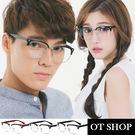 OT SHOP眼鏡框‧中性方框金屬半框鉚釘裝飾型男簡約金屬膠框平光眼鏡‧亮黑/霧黑/茶色‧現貨‧G15