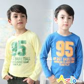 Azio男童 上衣 95數字英文印花圓領長袖T恤(共2色)