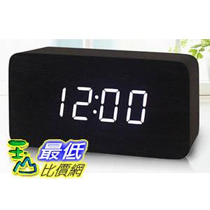 [玉山最低比價網] 木頭 時鐘 木質 黑色 實木 白光 LED 電子鐘 時鐘 鬧鐘 溫度計 (591439_L217)