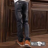 【7277】經典布章刷色伸縮小直筒牛仔褲● 樂活衣庫