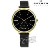 SKAGEN / SKW2354 / Hagen 簡約俐落曲線輕薄真皮手錶 黑x金框 34mm