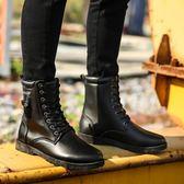 馬丁靴  高筒男靴子英倫男士馬丁靴工裝男鞋加絨保暖棉鞋百搭雪地棉靴 格蘭小鋪