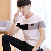 T恤 2019夏季新款韓版男士短袖t恤青少年潮牌上衣服修身潮流 df14845【潘小丫女鞋】