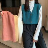 針織背心-短款寬鬆V領純色女外套4色73xj4【巴黎精品】