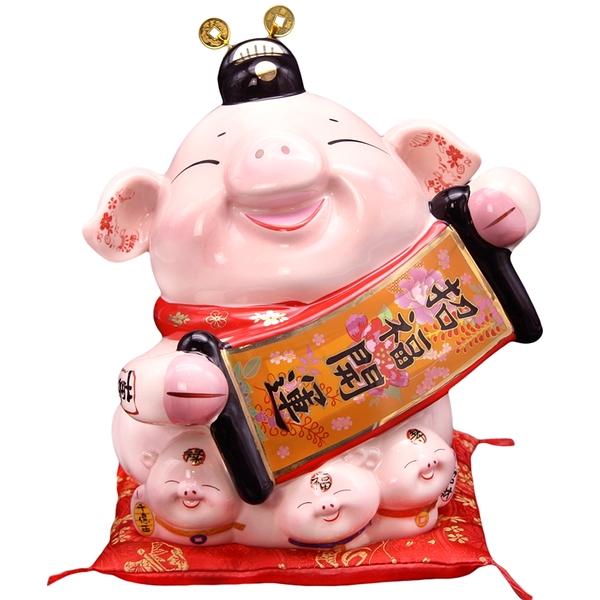 【金石工坊】己亥年生肖豬年-招福開運豬撲滿(大) 陶瓷撲滿擺飾