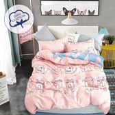 Artis台灣製 - 100%純棉 加大床包+枕套二入+薄被套【貓居】舒柔透氣