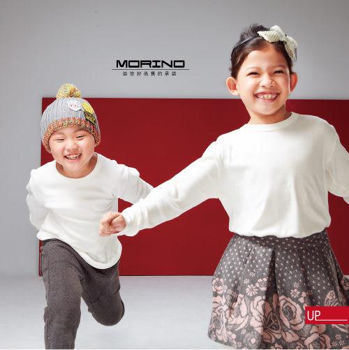 【MORINO】兒童發熱長袖圓領衫-暖白