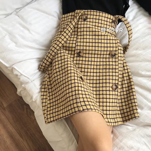 韓版時尚雙排扣復古格子呢料吊帶背帶半身裙女【聚可愛】【聚可愛】
