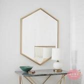 掛鏡 浴室鏡歐式簡約壁掛鏡鐵藝方形洗手間鏡子高清客廳梳妝臺裝飾鏡 【快速出貨】