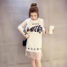 網紗洋裝-韓版時尚雙層字母印花女連身裙2色73hd2【時尚巴黎】