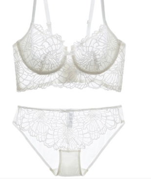 法國超薄透明蕾絲內衣性感大胸文胸套裝聚攏薄款誘惑胸罩-sha3102