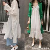 夏季新款韓版BF風寬鬆顯瘦襯衫女薄款防曬衫過膝襯衣開衫外套艾美時尚衣櫥